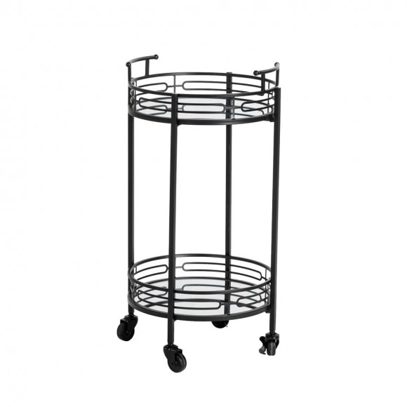 """Glitzhome 29.50""""H Black Deluxe 2-Tier Metal Oval Mirrored Bar Cart"""