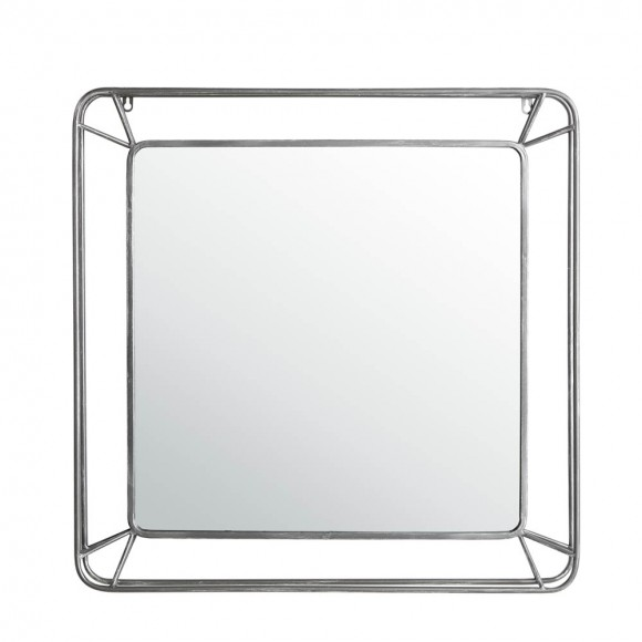 "Glitzhome 29.50""H Oversized Square Wall Mirror with Metal Frame"