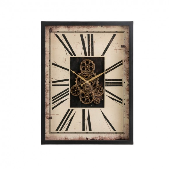 """Glitzhome 23.75""""H Vintage Rectangle Gear Clock With Tempered Glass"""