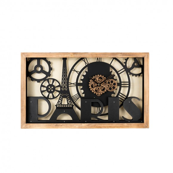 "【PRE-ORDER】Glitzhome 30.00""L Industrial Metal/Wood Eiffel Tower Silhouette Gear Wall Clock (without glass) — Ship After 4/23, 2021"