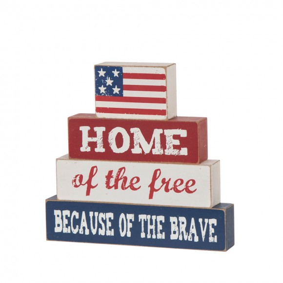 """Glitzhome 8.5""""L Home Of The Free Because Of The Brave Sign Wooden Patriotic Decorative Table Decor"""