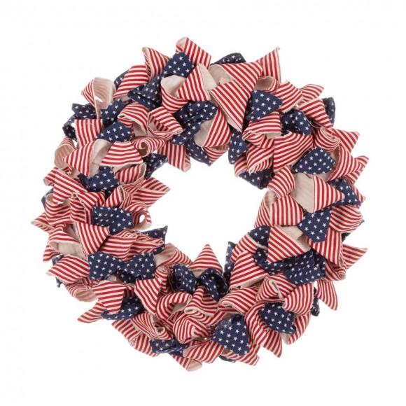 "Glitzhome 19""D Fabric Patriotic Stripes and Stars Wreath"