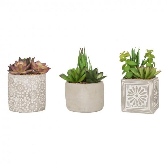 Glitzhome Artificial Succulent Plants in Cement Pots, Set of 3