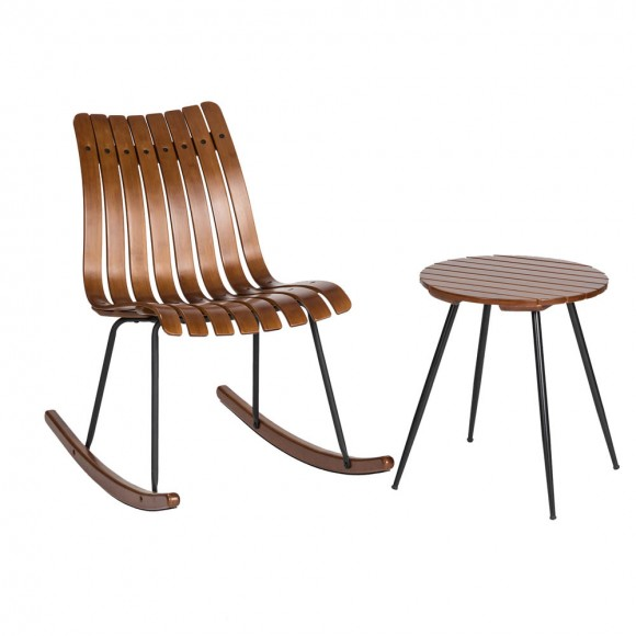 Glitzhome Bamboo Rocking Chair and Accent Table