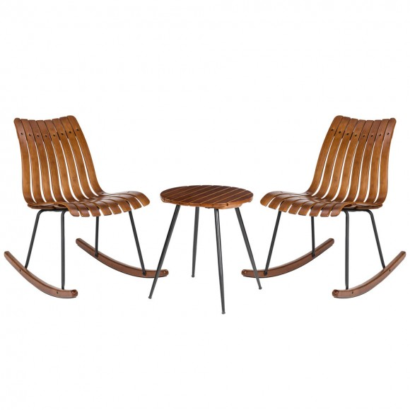Glitzhome Two Bamboo Rocking Chairs and One Accent Table