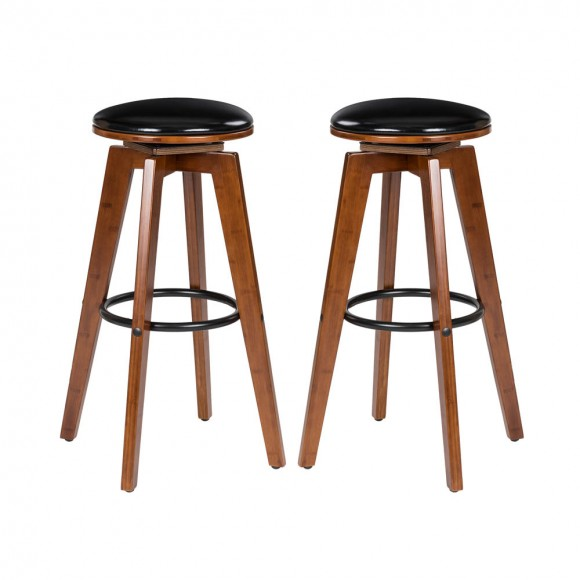 "Glitzhome 30""H Bamboo Swivel Upholstery Bar Stool, Set of 2"