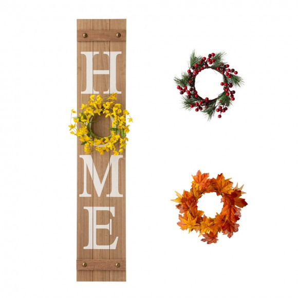 """Glitzhome 42""""H Wooden Brown HOME Porch Sign With 3 Interchangeable Wreathes(Spring/Fall/Christmas)"""