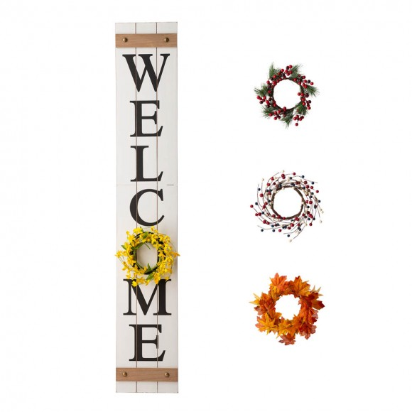 """Glitzhome 60""""H Wooden White WELCOME Porch Sign With 4 Interchangeable Wreathes(Spring/Patriotic/Fall/Christmas)"""