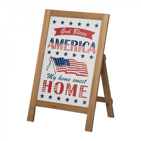 """Glitzhome 24""""H God Bless America & My Home Sweet Home Wooden Porch Sign Décor"""