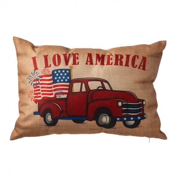 """Glitzhome 18""""L Faux Burlap Patriotic Truck Pillow"""