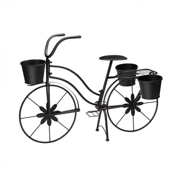 """Glitzhome 26""""H Hand Painted Black Metal Bicycle Plant Stand"""