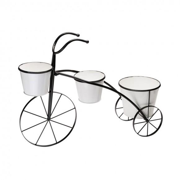 "Glitzhome 20.5""H White & Black Metal Enamel Bicycle Planter Stand"