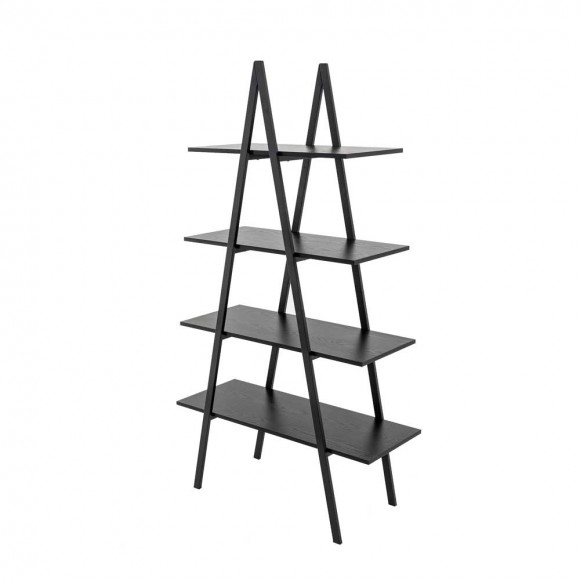 "Glitzhome 64.5""H Modern Industrial Black Oak Melamine 4-Tier Leaning Bookcases & Ladder Shelves"