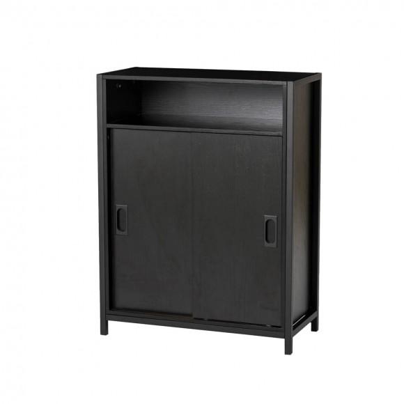 "Glitzhome 31.75""H Modern Industrial Black Oak Melamine Floor Cabinet with 2 Sliding Doors"