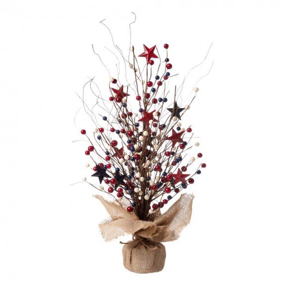 "Glitzhome 20""H Americana Berry Table Tree"