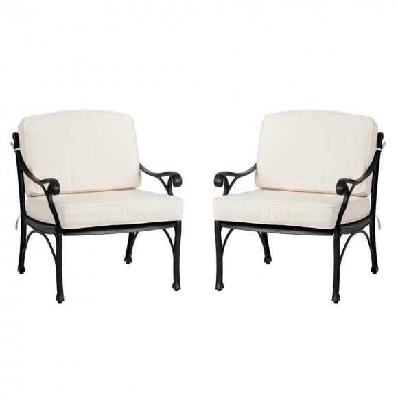 Elm PLUS 2-Piece Cast Aluminum Patio Sofa Chair with Beige Cushion, Olefin Fabric
