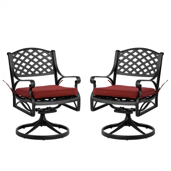 Elm PLUS 2 Piece Cast Aluminum Patio Dining Swivel Chair with Red Cushion, Olefin Fabric