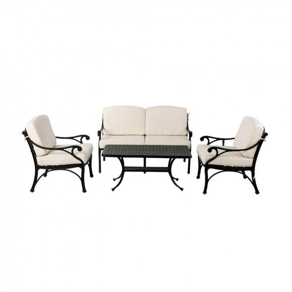 Elm PLUS 4 Piece Cast Aluminum Patio Sectional Sofa Set with Beige Cushions, Olefin Fabric
