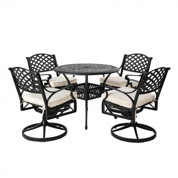 Elm PLUS 5 Piece Cast Aluminum Patio Swivel Dining Set with Beige Cushions, Olefin Fabric,