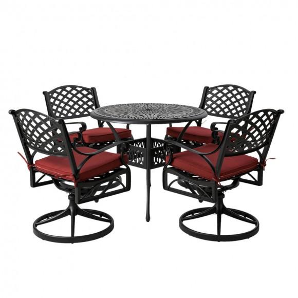 Elm PLUS 5 Piece Cast Aluminum Patio Swivel Dining Set with Wine Red Cushions, Olefin Fabric