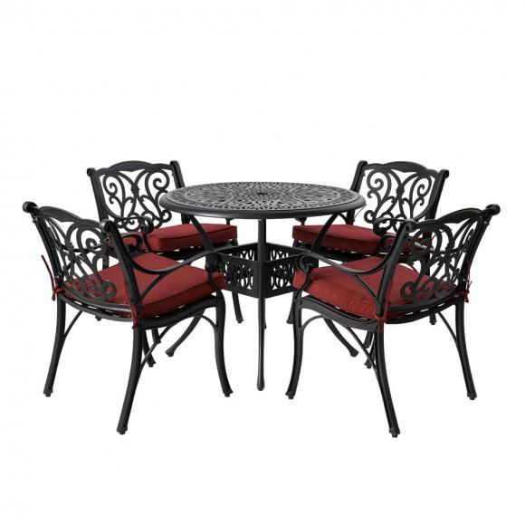 Elm PLUS 5 Piece Cast Aluminum Patio Dining Set with Wine Red Cushions, Olefin Fabric