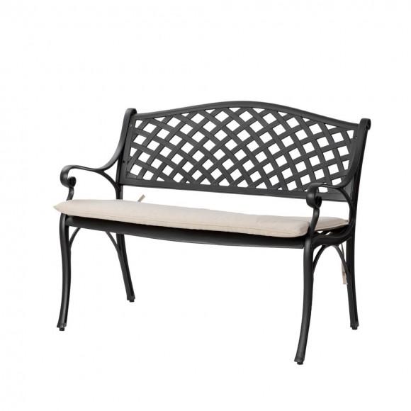 """Elm PLUS 40""""L Cast Aluminum Patio Bench with Beige Cushion"""
