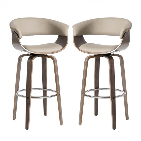 Glitzhome Mid-century Modern Gray PU Leather/ Oak bentwood Swivel Bar Chair,Set of 2
