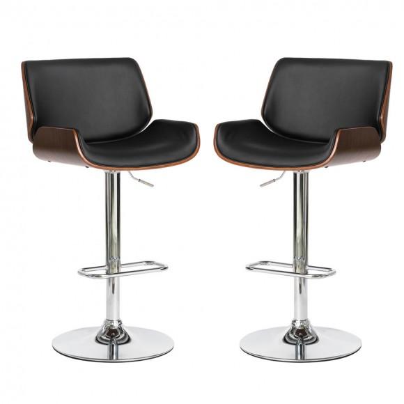 Glitzhome Mid-century Modern Black PU and Walnut Bentwood Adjustable Height Swivel Bar Stool,Set of 2
