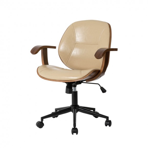 Glitzhome Cream PU Leather Adjustable Height Swivel Desk Chair/Task Chair