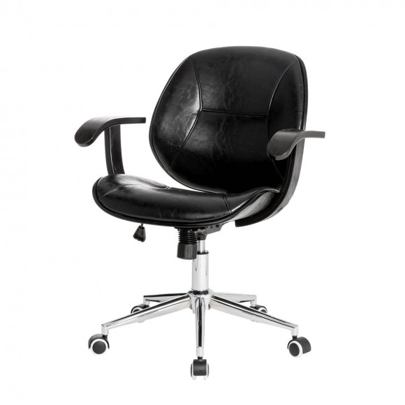 Glitzhome Black PU Leather Adjustable Height Swivel Desk Chair/Task Chair