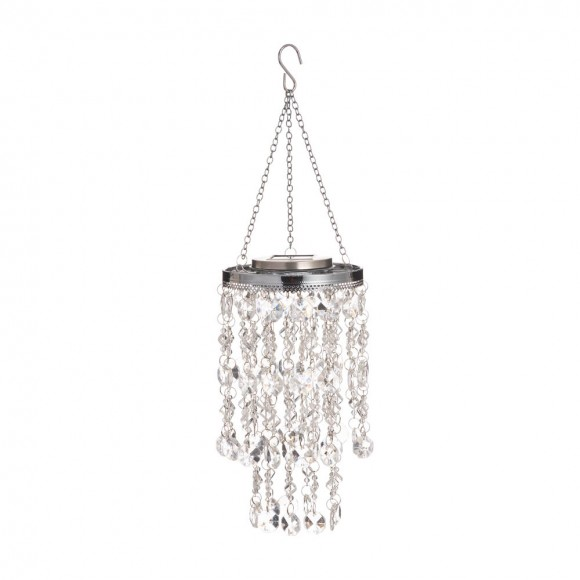 """Glitzhome 18.75""""H Solar Lighted Transparent Acrylic Jewel Beaded Wind Chime or Chandelier Hanging Décor"""