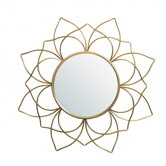 "Glitzhome 32.75""D Oversized 3D Lotus Regency Modern Gold Metal Wall Mirror"