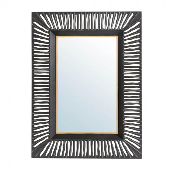 "Glitzhome 34.50""H Oversized Modern Black & Gold Metal Wall Mirror"