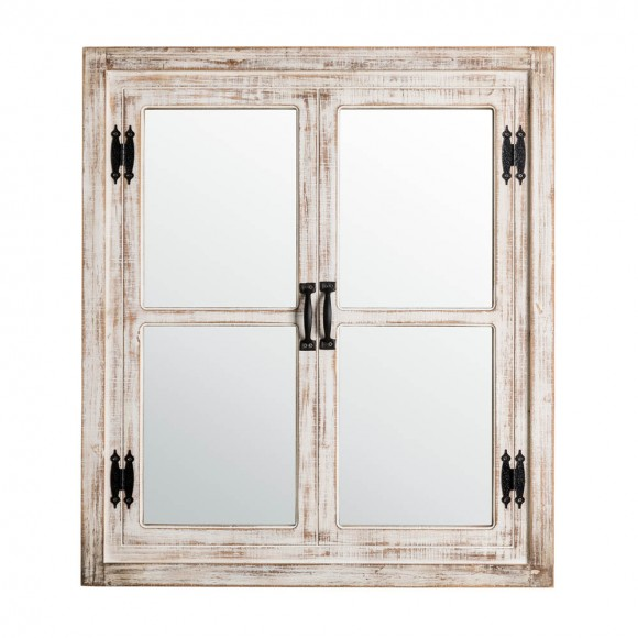 "Glitzhome 31.5""H Oversized Farmhouse Wood Window Frame Wall Mirror"