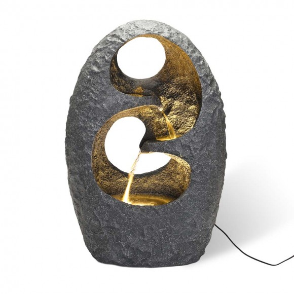 """Glitzhome 28""""H Zen Style Rock Textured Polyresin Outdoor Fountain with LED Light and Pump"""