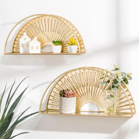Glitzhome Set of 2 Regency Modern Gold Fan Shaped Wall Shelf With Mirror Base