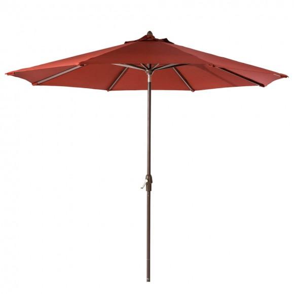 Elm PLUS 10 ft. Aluminum Auto Tilt Market Patio Umbrella in Wine Red Olefin