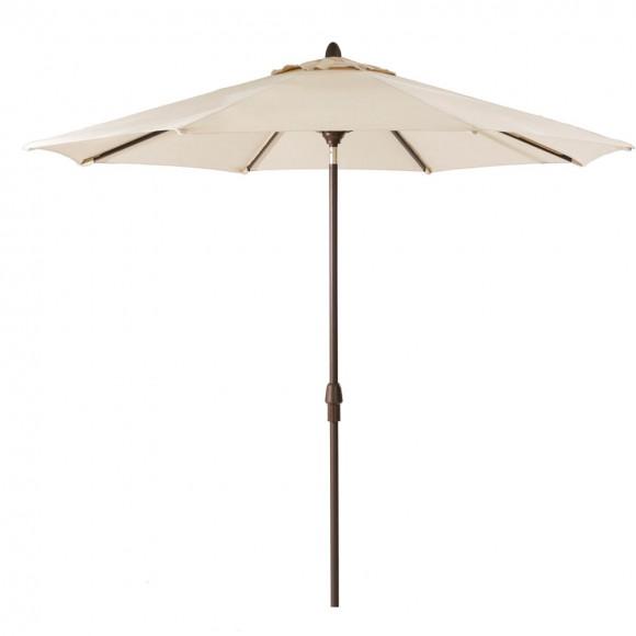 Elm PLUS 10 ft. Aluminum Auto Tilt Market Patio Umbrella in Beige Olefin