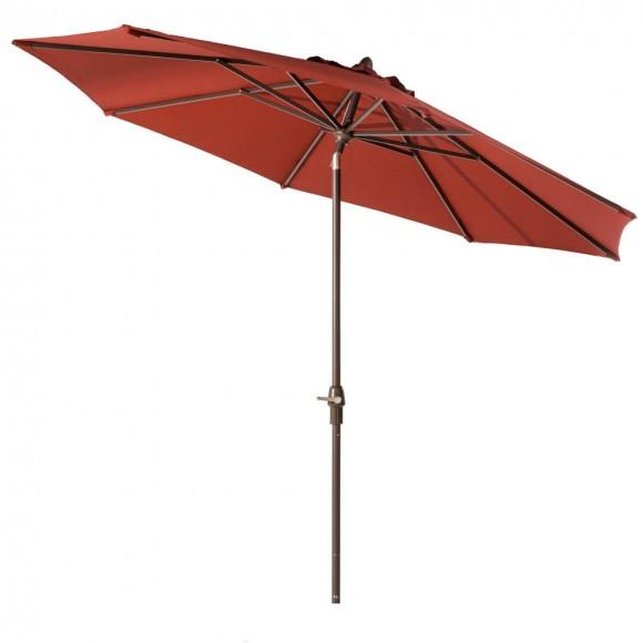 Elm PLUS 9 ft. Aluminum Auto Tilt Market Patio Umbrella in Wine Red Olefin