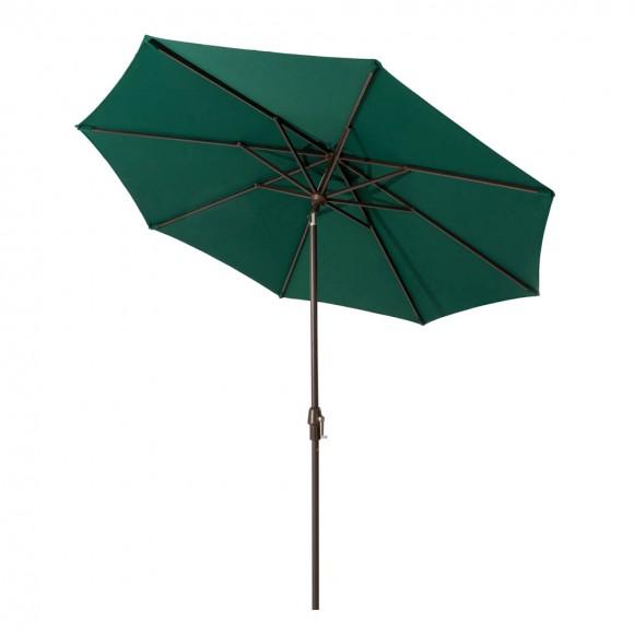 Elm PLUS 9 ft. Aluminum Auto Tilt Market Patio Umbrella in Dark Green Olefin
