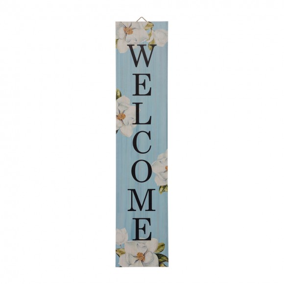 "Glitzhome 42""H Washed Blue Wooden ""WELCOME"" Porch Sign"