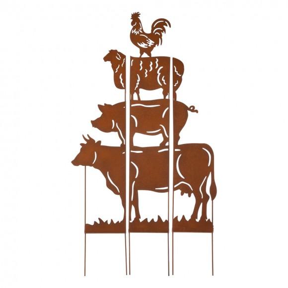 "Glitzhome 51.25""H Farmhouse Metal Rustic Animals Silhouette Yard Stake, Set of 3"