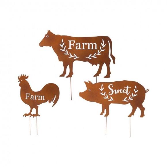 Glitzhome Farm Sweet Farm Metal Farmhouse Animals Silhouette Sign Yard Stake or Wall Décor, Set of 3