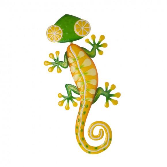 "Glitzhome 24.25""L Whimsical Metal Lemon Gecko Wall Decor"