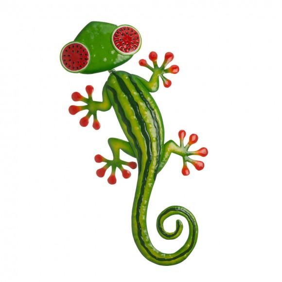 """Glitzhome 24.25""""L Whimsical Metal Watermelon Gecko Wall Décor"""
