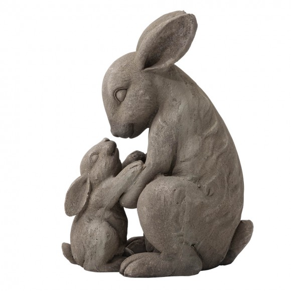 """Glitzhome 19""""H MGO Sweet Mother and Baby Rabbits Statue"""