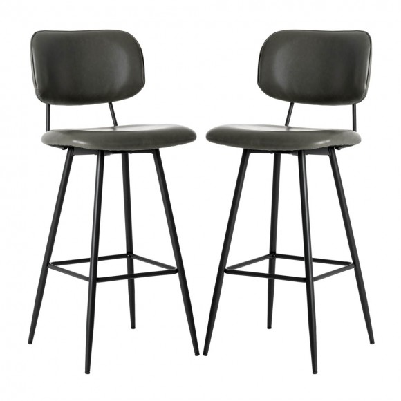 """Glitzhome 43""""H Grey PU Leather Bar Stool with Back, Set of 2"""