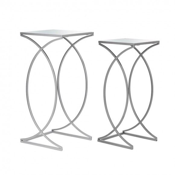 Glitzhome Silver Metal Nesting Side & End Accent Table with Square Glass Top, Set of 2
