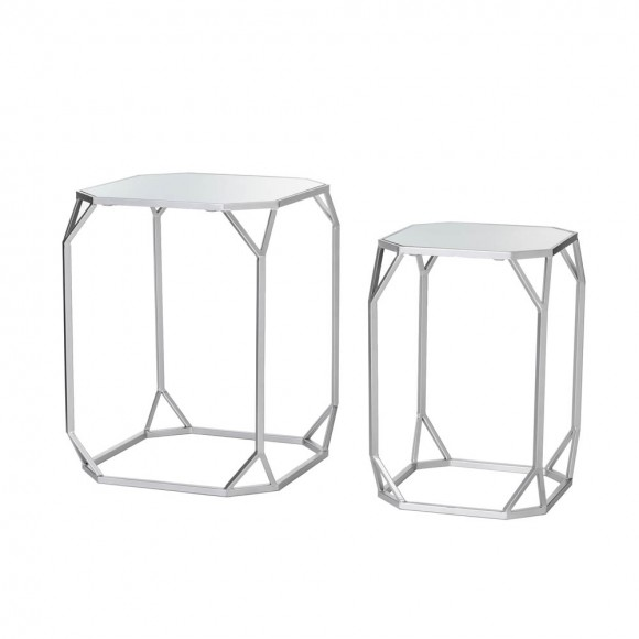 Glitzhome Silver Metal Nesting Side & End Accent Table with Glass Top, Set of 2
