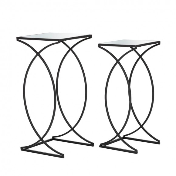 【Pre-Order】Glitzhome Black Metal Accent Table with Square Glass Top, Set of 2 — Ship After 6/20, 2021